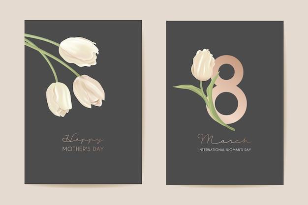 Biglietto di auguri per il giorno della donna 8 marzo. illustrazione vettoriale floreale di primavera. saluto realistico modello di fiori di tulipano, sfondo di fiori di lusso, volantino del concetto di giornata internazionale della donna, design moderno per feste