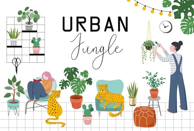 Donna che decora casa alla moda con piante e leopardi