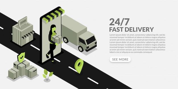 La donna consegna il pacco al cliente, un servizio di consegna veloce con design unico