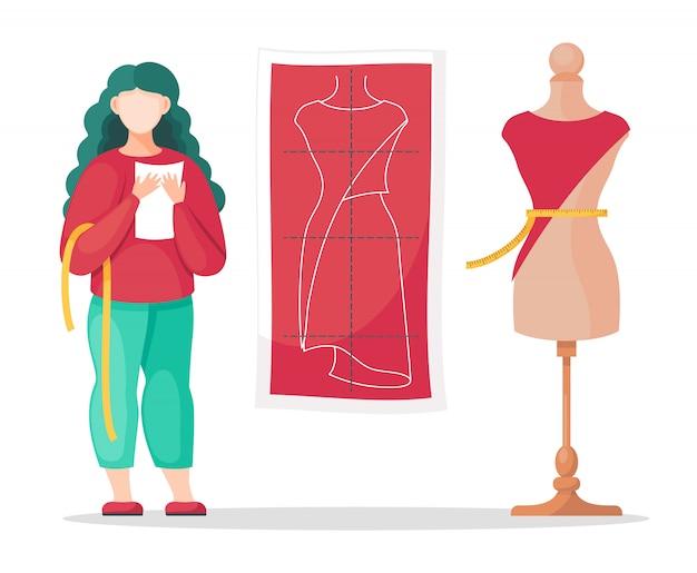 Designer donna che misura la vita, prende appunti, modello di schizzo su misura, manichino con vestito