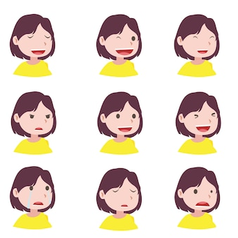 Donna e diverse espressioni facciali per realizzare il motion design