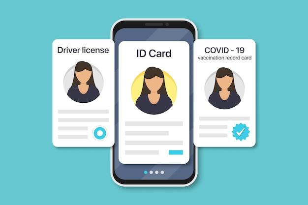 Documenti digitali della donna in smartphone. scheda di registrazione delle vaccinazioni covid-19, carta d'identità, patente di guida in un design piatto. illustrazione vettoriale