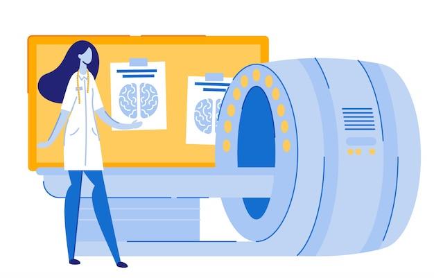 Woman doctor doing mri, in piedi vicino all'attrezzatura.