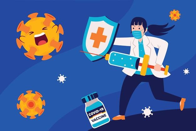 La dottoressa previene i virus con i vaccini