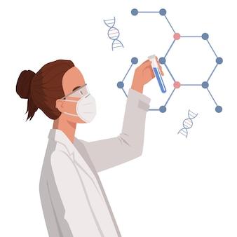 Gli scienziati del medico della donna tengono la provetta. sviluppo del trattamento della polmonite da coronavirus pandemico. ricerca sull'immunizzazione sanitaria. illustrazione in uno stile piatto