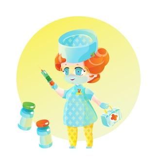 Medico donna con i capelli rossi con una siringa, una borsa medica e fiale di vaccino