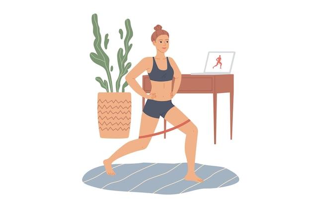 La donna fa affondi con una fascia elastica di gomma. esercizi per gambe e glutei a casa.