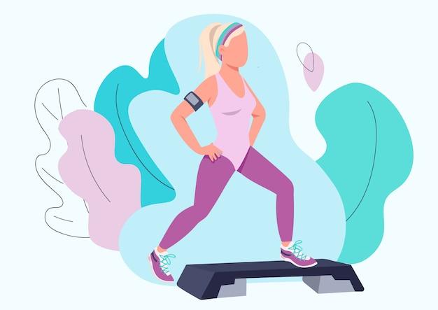 Donna che fa il carattere anonimo di colore piano di esercizio aerobico