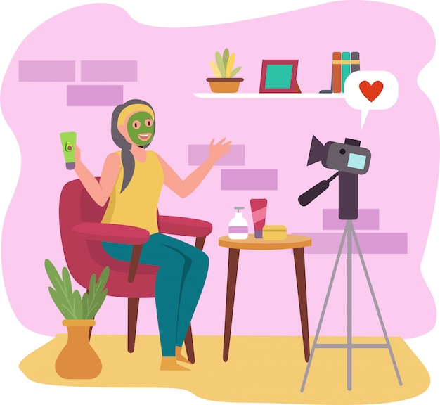 Una donna che fa bellezza vlog a casa iilustration
