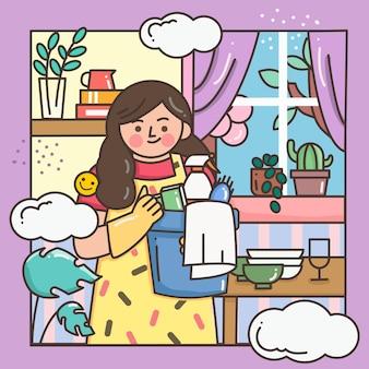 Donna che fa una pulizia della casa