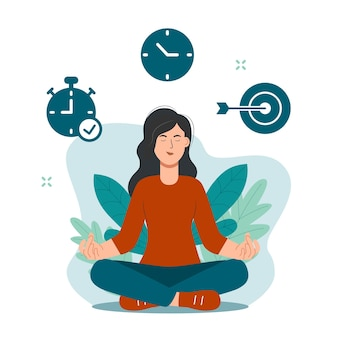 Donna che fa meditazione durante l'orario di lavoro per calmare l'emozione stressante