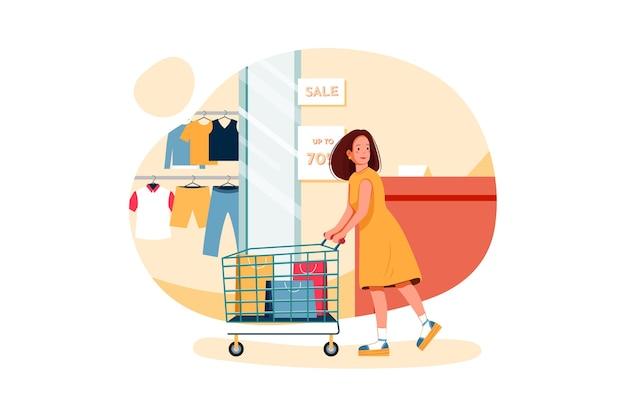 Donna che fa il concetto di illustrazione dello shopping