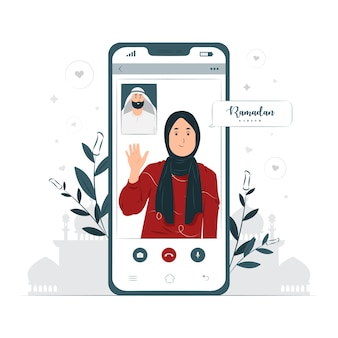 Donna che fa videochiamata sull'illustrazione di concetto di ramadan kareem