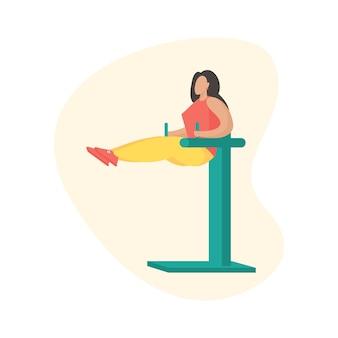 Donna che fa allenamento. attrezzature per il fitness all'aperto. personaggio dei cartoni animati femminile in abbigliamento sportivo che fa sport. illustrazione vettoriale piatta