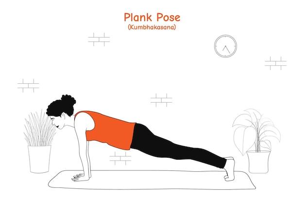 Donna che fa yoga asana plancia posa o kumbhakasana