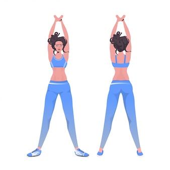 La donna che fa la forma fisica di yoga esercita la formazione della ragazza sana di concetto di stile di vita che risolve l'illustrazione integrale isolata vista posteriore anteriore
