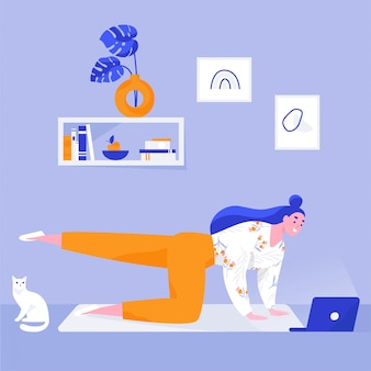 Donna che fa yoga a casa facendo uso del computer portatile. lezioni di yoga online per principianti. illustrazione vettoriale piatta
