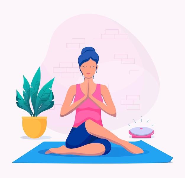 Donna che fa yoga a casa illustrazione vettoriale. uno stile di vita sano.