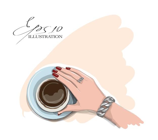 Illustrazione di bere il caffè della donna
