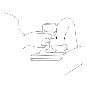 Donna che beve vino e legge un libro in stile lineare minimale alla moda. vector delinea il corpo femminile dell'illustrazione per poster, tatuaggi, copertine, post sui social media
