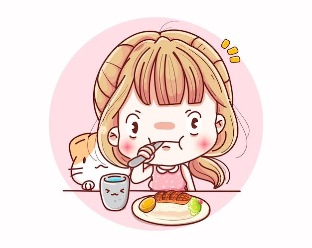 Una donna che mangia a pranzo e il design dei personaggi dei cartoni animati.