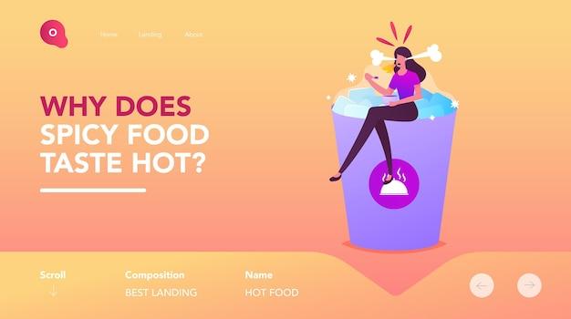 Donna che mangia il modello della pagina di destinazione del pasto piccante o caldo. piccolo personaggio femminile seduto a un'enorme tazza di cubetti di ghiaccio con piatto di cibo caldo in mano con fuoco ardente in bocca. fumetto illustrazione vettoriale