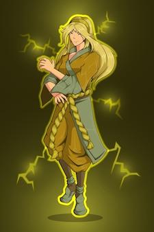 Design del personaggio della donna e dell'energia elettrica