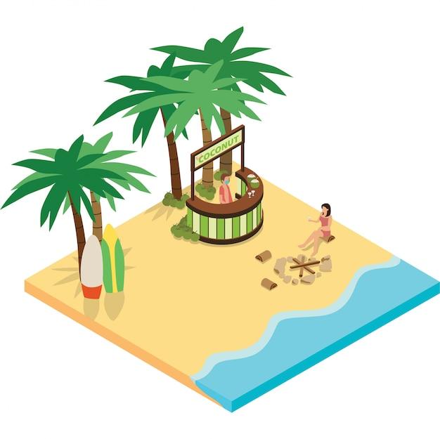 Una donna che gode della bevanda del cocco in spiaggia durante le vacanze