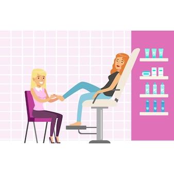 Donna che gode di un massaggio ai piedi presso spa o salone di bellezza. personaggio dei cartoni animati colorato