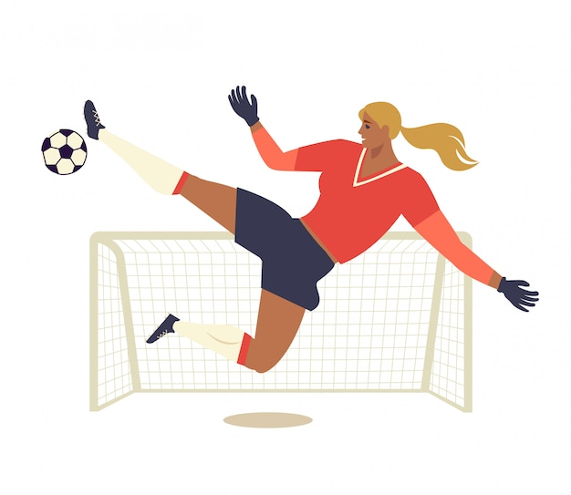 Calcio europeo della donna, illustrazione piana di vettore del calciatore.