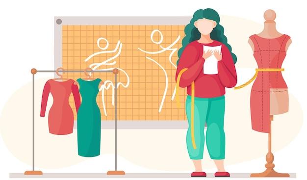 La donna esamina un manichino con tessuto rosso per il vestito futuro