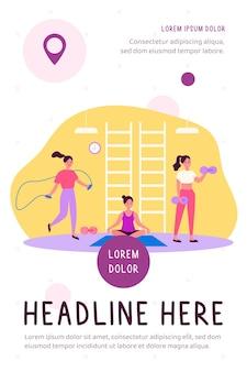 Donna che si esercita nel fitness club o palestra, praticando l'illustrazione piana di allenamento del corpo del peso