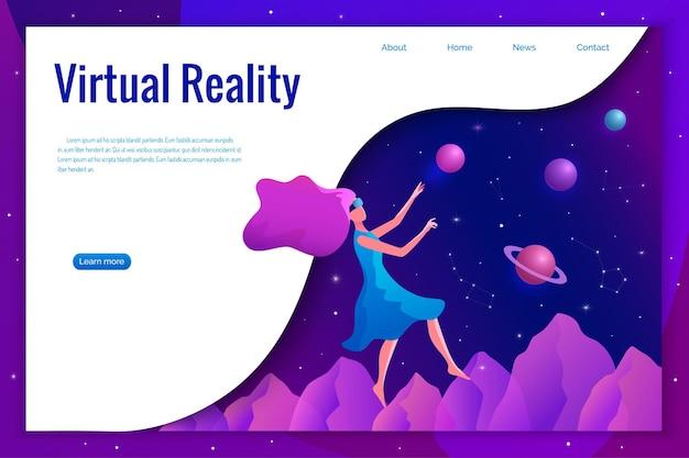Donna che sperimenta la realtà virtuale che indossa l'illustrazione degli occhiali vr. ragazza galleggiante nello spazio.