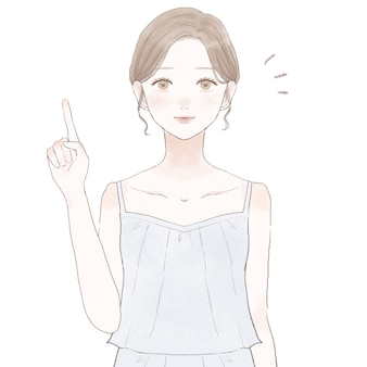 Donna che spiega con le dita. immagine per la cura della pelle. su sfondo bianco.