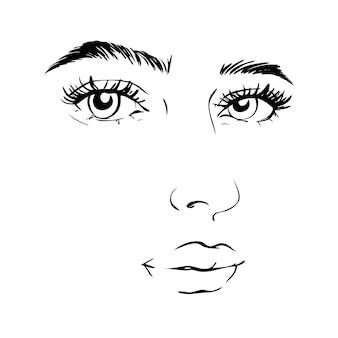 Volto di donna. concetto di bellezza. ciglia e labbra.