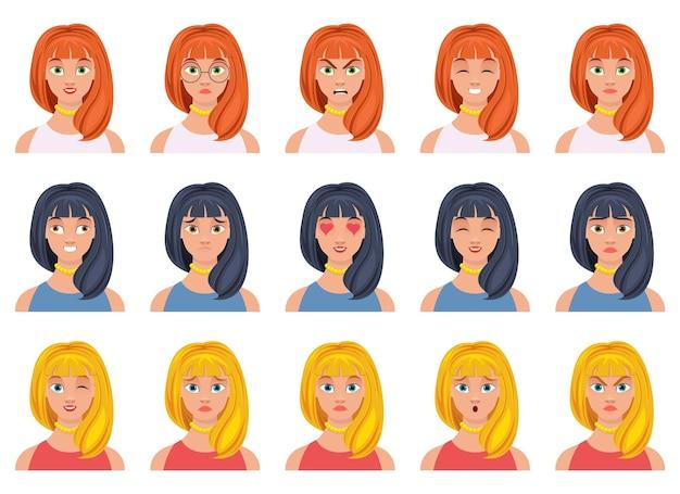 Illustrazione di disegno di espressione del viso di donna isolata