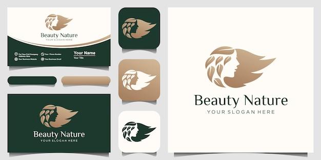 Volto di donna e capelli foglia salone oro gradiente logo design