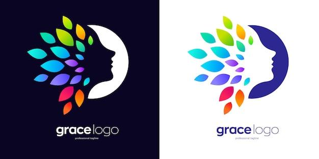 Logo del viso di donna con foglie colorate