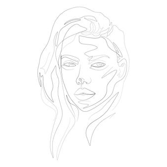 Donna faccia una linea arte illustrazione in stile minimalista