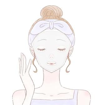 Donna in confezione facciale. su uno sfondo bianco.