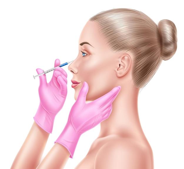 Donna faccia chirurgia plastica