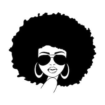 Volto di donna con occhiali da aviatore donne afro donna afroamericana