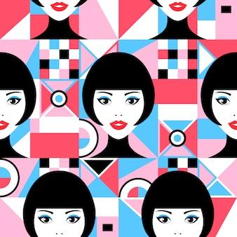 Volti di donna e figure geometriche Vettore Premium