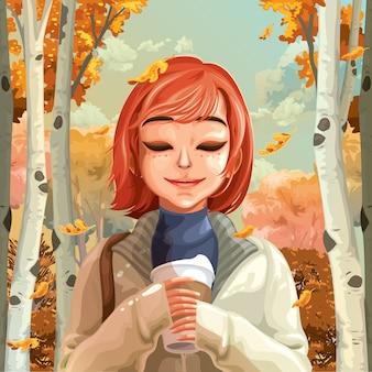 Donna e foglie di autunno che cadono