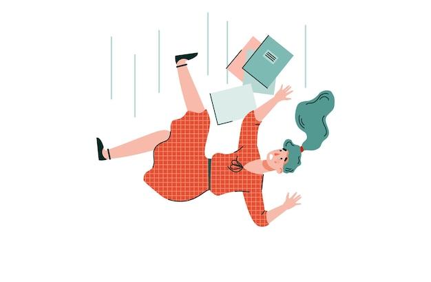 La donna cade illustrazione vettoriale isolata fumetto