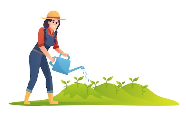 Illustrazione delle piante di irrigazione dell'agricoltore donna
