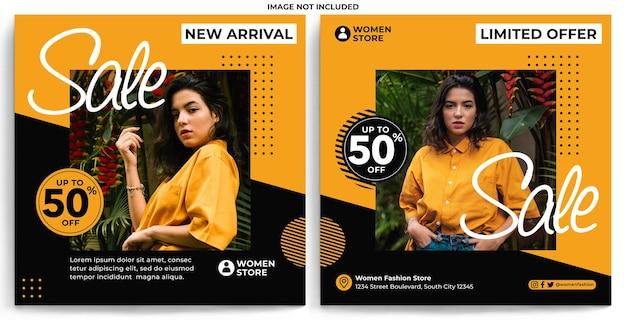 Modello di feed instagram promozione moda donna in stile design piatto