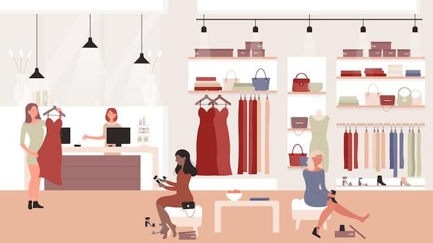 Illustrazione del negozio del negozio di moda donna con acquirenti femminili che provano nuove scarpe