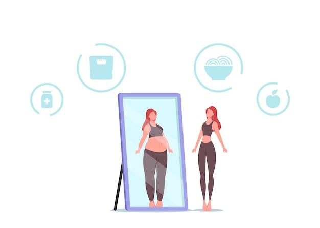 La donna si sente in colpa e odia l'aspetto allo specchio guarda se stessa grassa. concetto di anoressia o bulimia. la femmina si rifiuta di mangiare