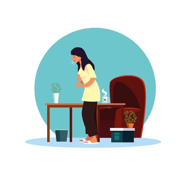 Donna che si sente male a casa disegno vettoriale Vettore Premium